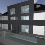 Fassade mit WDVS und Metalltafeln